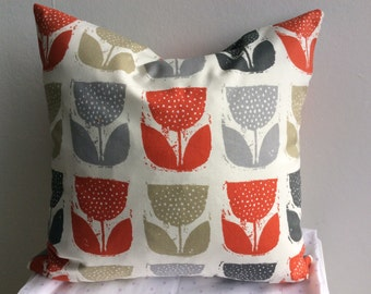 Tulip Floral Cushion Cover, Pillow Cover, tulip design16x16 inch or 40x40cm