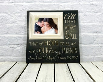 parent of the bride gift, mother of the bride gift, thank you gift,  picture frame, parent wedding gift, wedding gift parent, bride gift