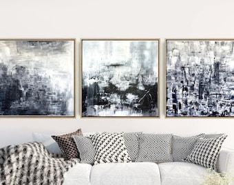 Set of 3 Prints, Abstract Art Prints, Triptych, Black And White Wall Art, Minimalist Art, Giclee Print, Home Decor, Wall Decor, Wall Prints