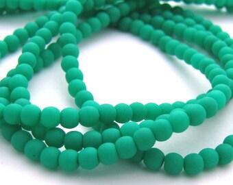 NEW Matte Neon Emerald 3mm Smooth Round Czech Glass  Beads 100pc #2094