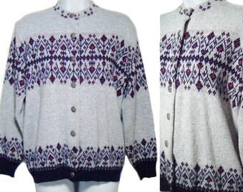 Vintage 60's SAN MARINO CALIFORNIA Sweater Cardigan Light Blue L