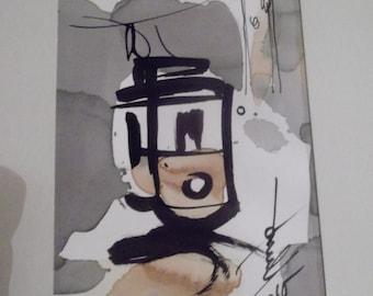 "original pen and ink drawing, ''Alfama tram"" Lisbon, Portugal , signed by artist"