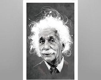 Albert Einstein 11x17 Illustrated Ultra Gloss Print
