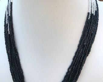 Black and Silver Seed Bead Necklace
