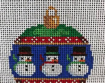 "50% OFF Handpainted Needlepoint Associated Talents #CT1461 ""Snowmen Mini Ball Ornament"""