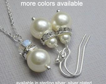 Ivory Pearl Wedding Jewelry Set, Ivory Necklace and Earring Set, Bridesmaid Jewelry Set, Bridesmaid Gift Set, Bridal Party Jewelry Set