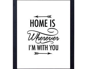 instant download- home is wherever I'm with you art print