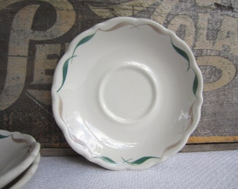 Vintage Restaurant Ware Saucers Green and Beige Border Syracuse China Scalloped Edges
