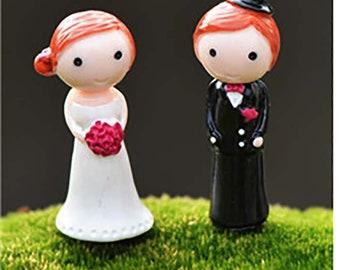 2 Pc Wedding Couple Adorable Miniature Garden Plants Terrarium Dollhouse Ornament Fairy Decoration WC0613