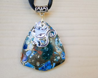 Blue Sea Sediment Jasper with Black Cat Charm Pendant