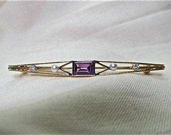 14k yellow gold, amethyst,diamond, pearl pin