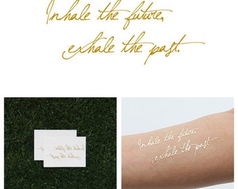 Smoking - Metallic Gold Inspirational Quote Temporary Tattoo (Set of 2)