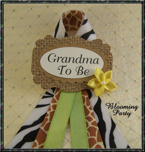 Safari Baby Shower Corsage: Safari Grandma To Be Corsage Jungle Safari Baby Shower Corsage