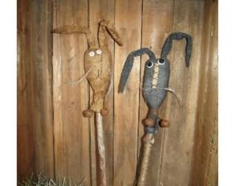 Primitive rabbit/primitive Easter rabbits/primitive easter/SILLY RABBITS STICKS/primitive pokes/primitive handmade/primitive easter bunny