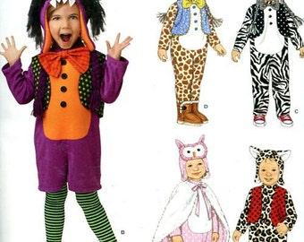 FREE US SHIP Simplicity 0861 Child's Costume Animal Hats Monster Owl Leopard Cat Halloween Pretend Play Uncut Sewing Handmade Craft Pattern