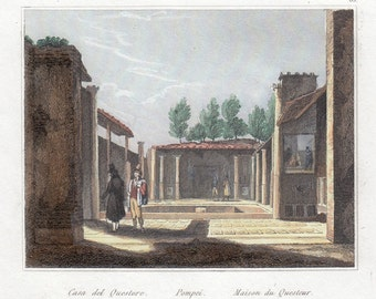 Pompeii, the House of the original, antique print, Audot, ' 800