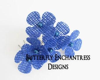 Something Blue Hair Flowers, Bridal Accessories, Bridesmaid Hair - 6 Cobalt Blue Burlap Hydrangea Hair Pins