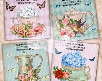 80% OFF Summer Sale Vintage  Shabby Chic Tea Cup Digital Collage Sheet Digital Coasters Cards Large Square Images for Decoupage, Scrapbookin