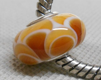 Glass Large Hole Lampwork Bead European Charm Bracelet Bead Topaz Scales Silver Cored Bead