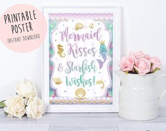 Mermaid party sign, Mermaid kisses starfish,Mermaid party,Mermaid Birthday,Mermaid poster,Mermaid Printables,welcome sign,Mermaid invitation