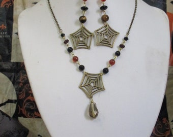 Spider Web Beaded Charm Necklace and Earrings Set