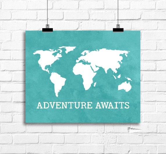 World map art print adventure awaits art nursery room like this item gumiabroncs Image collections