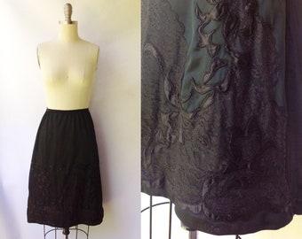 1960s Black Embroidered Half Slip   Vintage 60s Nylon Slip   Women's Plus Size Lingerie L XL XXL