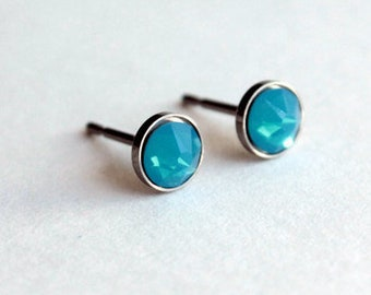 Titanium Earrings Studs Caribbean Blue Opal Swarovski Crystals / 4mm or 5mm / Allergy Free Earrings for Metal Allergies