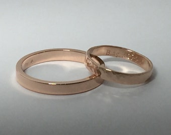Wedding bands, his and hers set, rose gold rings, mixed finishes, wide rose gold ring