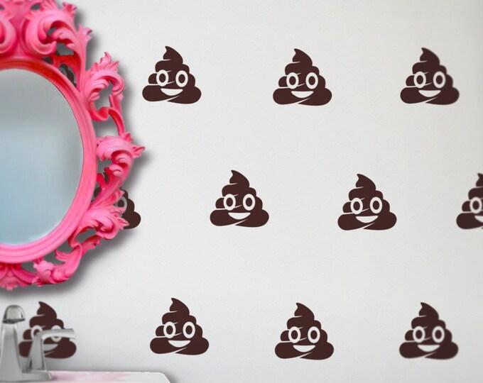 poop emoji wall decal set, pooh emoji stickers, kitsch art, FREE SHIPPING