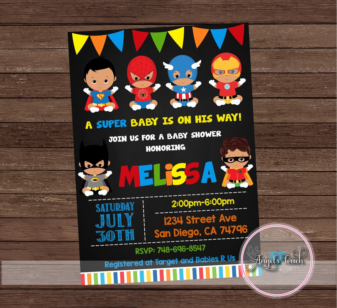 African American Superhero Baby Shower Invitation Superheroes