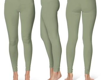 Artichoke Green Leggings, Mid Rise Waist Yoga Pants for Women, Yoga Bottoms