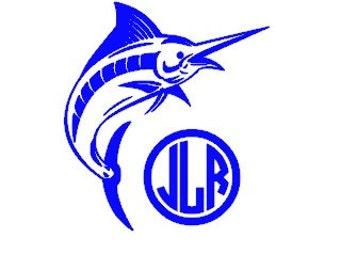 "Personalized Monogram Car Decal 5"" - Marlin Fishing - Salt Water Fishing"