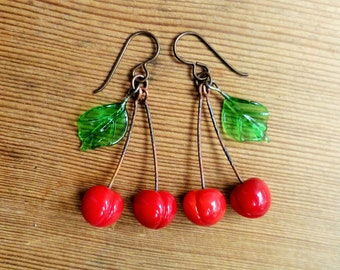 Glass cherry earrings, 40's 50's inspired fruit earrings, lampwork cherries, Sterling silver or niobium earrings.