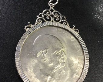 Churchill coin in a sterling silver pendant mount
