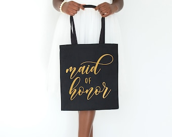 Matte Gold Maid of Honor, Tote, Maid of Honor, Maid of Honor Bag, MOH Wedding Tote, Maid of Honor Gift, Bridal Party Gifts  SKUTB10b