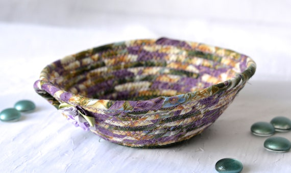 Violet Floral Bowl, Handmade Lavender Fabric Basket, Modern Chic Floral Gold Metallic Bowl, Artisan Coiled, Quilted