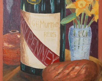 vintage oil painting still life of champagne daffodils bread on table