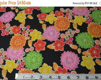 On Sale Item 131,  Bright Color Floral on Black,   By the Yard, Cotton Fabric