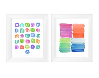 Playroom Prints, 11x14-Set of 2 Prints, Rainbow, ABC Print, Kids Playroom Decor, Kids Decor, Creative Room Decor, Playroom Wall Art, Toddler
