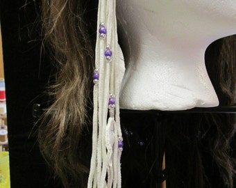 Native American White Deerskin Leather Earrings With Purple and Silver beads And Leather Feathers