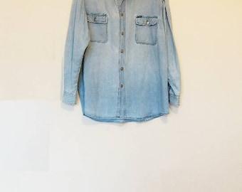 Denim Shirt Vintage Blue Button Up Oversize Chambray Large Shirt Button Down Light Blue Denim Chambray Top Men's Vintage Denim Shirt Blue
