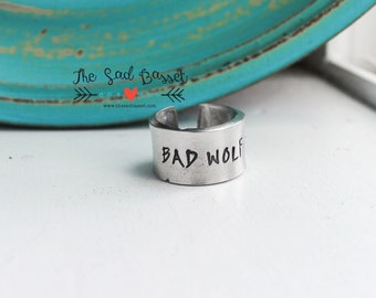 Bad Wolf Adjustable Pewter Ring | Doctor Who Jewelry | Hand Stamped Ring | Dr Who Jewelry | Geeky Jewelry | Fandom Ring | Tardis Ring