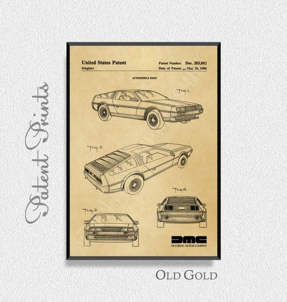 DeLorean Patent Print Automobile Art Garage Decor Man Cave