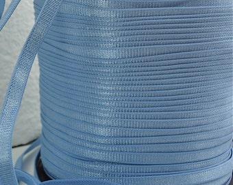 5yds Elastic Shiny Satin Blue Baby Headbands 1/4 inch Bra Strap Elastic by the yard Skinny Elastic band