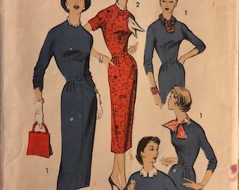 "Rare VTG 8066 Advance (1956).  Misses' Dress.  Size 16, Bust 36"".   Complete, unused, neatly cut.  Excellent condition."