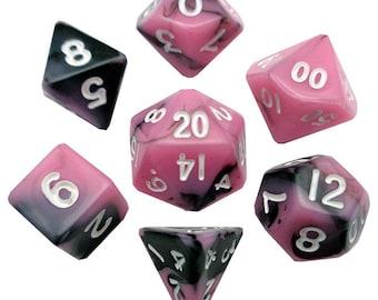 7-Die Set Combo: 10mm Pink-Black/White - MTD473 - Metallic Dice Games
