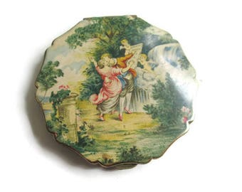 Stratton Powder Compact The Sermon of Love Painting England 1950s