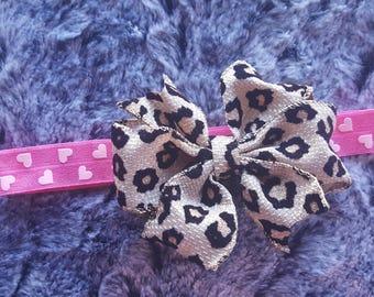 Big Leopard bow headband