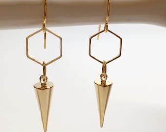 Gold spike earrings, edgy earrings, geometric earrings, gold spike earrings, hexagon earrings, pointy earrings, gold hexagon earrings